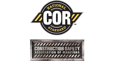 National COR Standard and Construction Safety Association of Manitoba logos, COR Certified